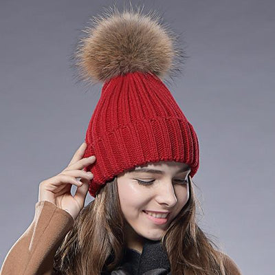 - 2016 Furtalk  Real Fur Hat Knitted Real Big  Raccoon  Pom Pom Hat Women Winter Hat - red / China  jetcube
