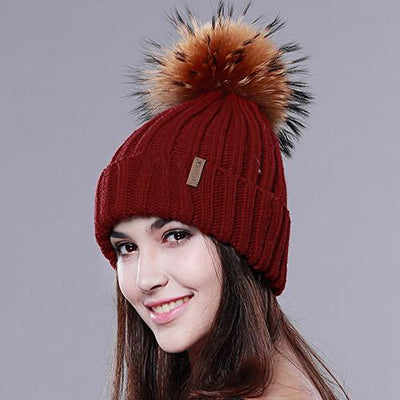 - 2016 Furtalk  Real Fur Hat Knitted Real Big  Raccoon  Pom Pom Hat Women Winter Hat - wine red / China  jetcube