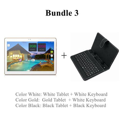 "- 10 Inch 3G Android Phablet Tablets PC Tab Pad 10"" IPS 1280x800 MTK Quad Core 2GB RAM 32GB ROM Dual SIM Card WIFI Bluetooth GPS - Add Keyboard / White  jetcube"