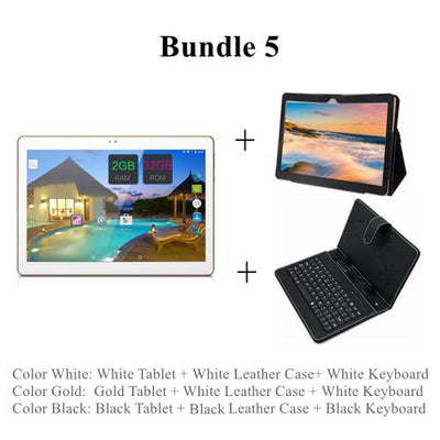 "- 10 Inch 3G Android Phablet Tablets PC Tab Pad 10"" IPS 1280x800 MTK Quad Core 2GB RAM 32GB ROM Dual SIM Card WIFI Bluetooth GPS - Add Case Keyboard / White  jetcube"