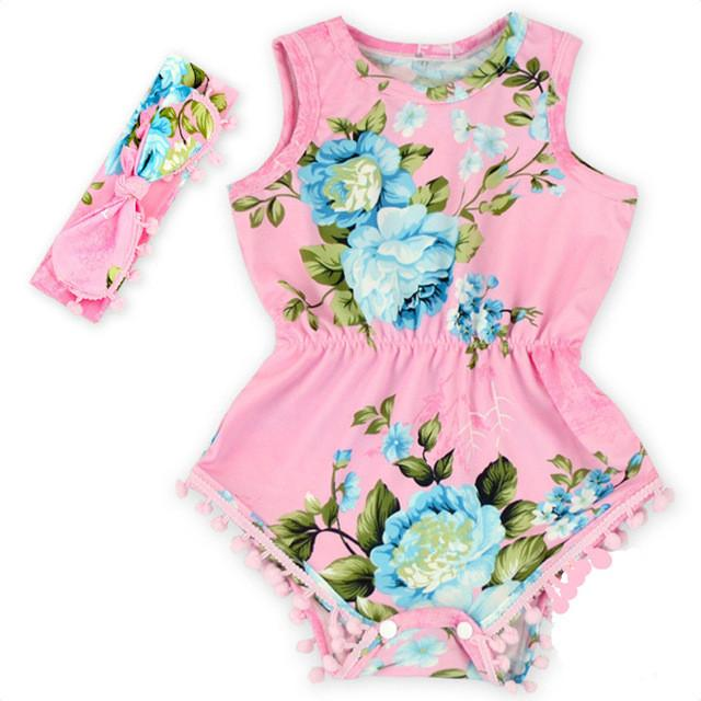 - (DEWDROP)Navy Blue Hot Pink Floral Pom Rompers For baby girls shabby chic romper baby playsuit  baby floral romper free shipping -   jetcube