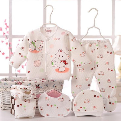 - (5pcs/set)Newborn Baby 0-6M  Boy Girl warm Clothes set 100%Cotton Cartoon winter Underwear baby set hat bibs Hat B-064 - Pink / 0-3 months  jetcube