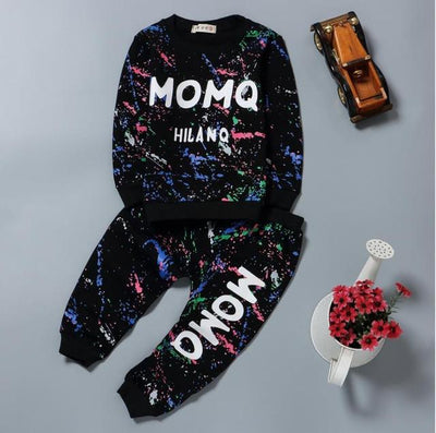 - 0-2T Baby girl clothes winter Spring Fashion printing graffiti Newborn baby boy clothing Set Girl Long Sleeve Infant Clothing - black / 7-9 months  jetcube