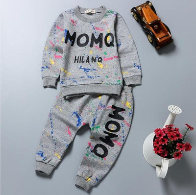- 0-2T Baby girl clothes winter Spring Fashion printing graffiti Newborn baby boy clothing Set Girl Long Sleeve Infant Clothing - grey / 7-9 months  jetcube