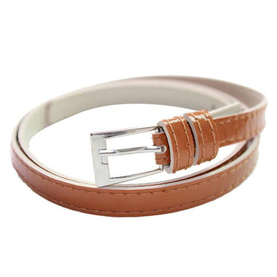 - 2016 Fashion Candy Color Beautiful Buckle Thin cintos femininos Women's Multicolor Leather Belt All Match Belts for Woman - As the picture show 1  jetcube