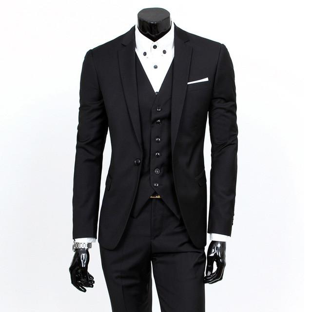 - (Vest+suit+pants) 2016 men pure color high-grade brand fashion wedding dress suits Men boutique slim formal business Blaze Suits - Black 1 buttons / S  jetcube