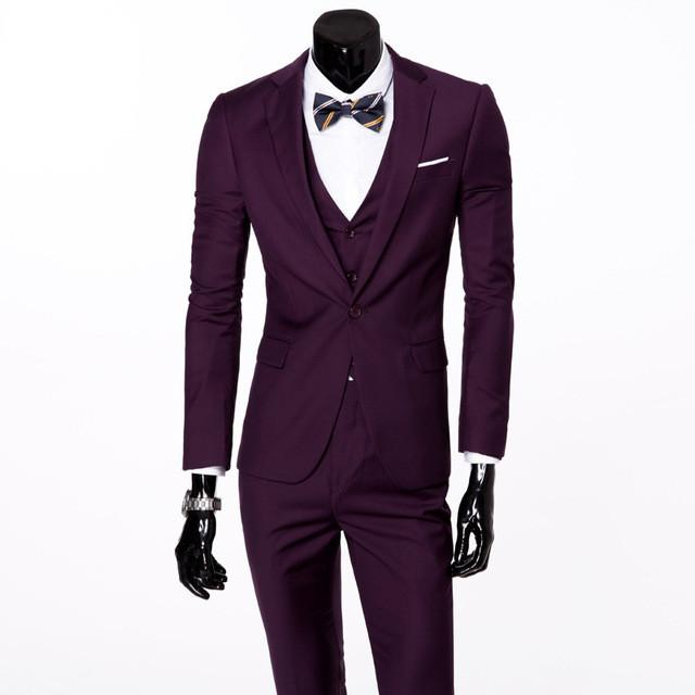 - (Vest+suit+pants) 2016 men pure color high-grade brand fashion wedding dress suits Men boutique slim formal business Blaze Suits - purple 1 buttons / S  jetcube