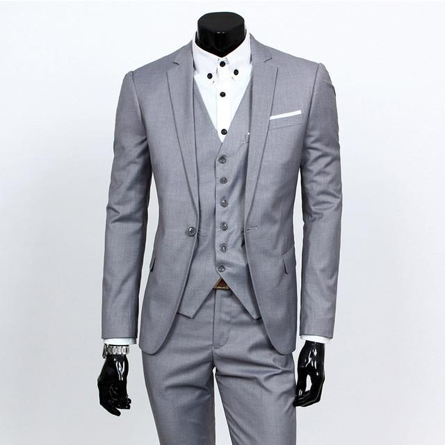 - (Vest+suit+pants) 2016 men pure color high-grade brand fashion wedding dress suits Men boutique slim formal business Blaze Suits - Light gray 1 buttons / S  jetcube