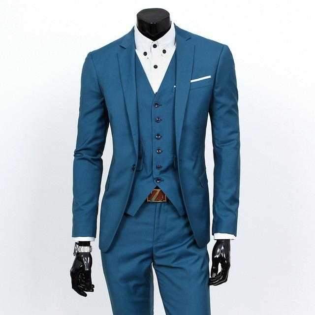 - (Vest+suit+pants) 2016 men pure color high-grade brand fashion wedding dress suits Men boutique slim formal business Blaze Suits - hailan 1 buttons / S  jetcube