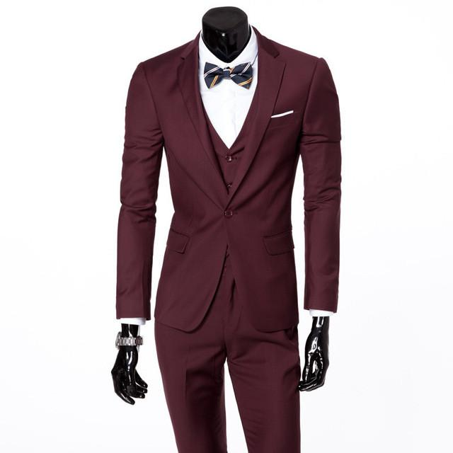 - (Vest+suit+pants) 2016 men pure color high-grade brand fashion wedding dress suits Men boutique slim formal business Blaze Suits - Dark red 1 buttons / S  jetcube