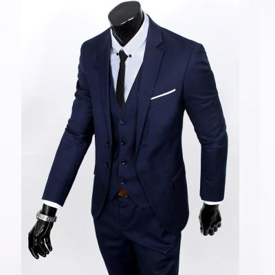 - (Vest+suit+pants) 2016 men pure color high-grade brand fashion wedding dress suits Men boutique slim formal business Blaze Suits - Navy 2 buttons / S  jetcube