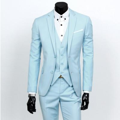 - (Vest+suit+pants) 2016 men pure color high-grade brand fashion wedding dress suits Men boutique slim formal business Blaze Suits - Light blue 2 buttons / S  jetcube