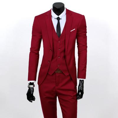 - (Vest+suit+pants) 2016 men pure color high-grade brand fashion wedding dress suits Men boutique slim formal business Blaze Suits - Wine red 2 buttons / S  jetcube