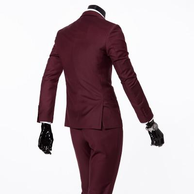 - (Vest+suit+pants) 2016 men pure color high-grade brand fashion wedding dress suits Men boutique slim formal business Blaze Suits - Dark red 2 buttons / S  jetcube