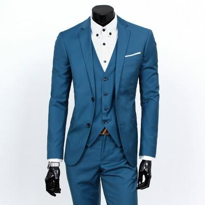 - (Vest+suit+pants) 2016 men pure color high-grade brand fashion wedding dress suits Men boutique slim formal business Blaze Suits - hailan 2 buttons / S  jetcube