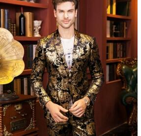 - (jacket+pants)male golden suit set wedding groom prom singer trousers performance show nightclub Blazer Outdoors wear party bar - a set / M  jetcube