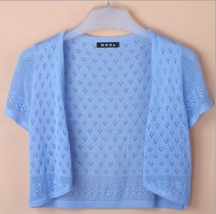 - 12 Colors Summer Women V-Neck Knitted Casual Loose Short Sleeve Sweaters Cardigans Lady Knitting Open Stitch Outwear - sky blue / S  jetcube