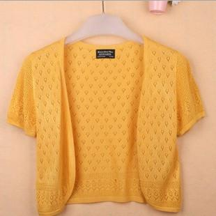 - 12 Colors Summer Women V-Neck Knitted Casual Loose Short Sleeve Sweaters Cardigans Lady Knitting Open Stitch Outwear - ginger yellow / S  jetcube