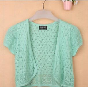 - 12 Colors Summer Women V-Neck Knitted Casual Loose Short Sleeve Sweaters Cardigans Lady Knitting Open Stitch Outwear - light green / S  jetcube