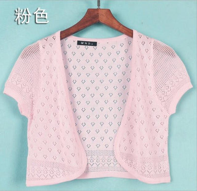 - 12 Colors Summer Women V-Neck Knitted Casual Loose Short Sleeve Sweaters Cardigans Lady Knitting Open Stitch Outwear - light pink / S  jetcube