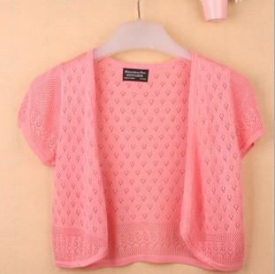 - 12 Colors Summer Women V-Neck Knitted Casual Loose Short Sleeve Sweaters Cardigans Lady Knitting Open Stitch Outwear - dark pink / S  jetcube