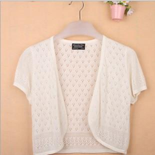 - 12 Colors Summer Women V-Neck Knitted Casual Loose Short Sleeve Sweaters Cardigans Lady Knitting Open Stitch Outwear - white / S  jetcube
