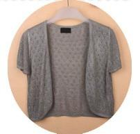 - 12 Colors Summer Women V-Neck Knitted Casual Loose Short Sleeve Sweaters Cardigans Lady Knitting Open Stitch Outwear - grey / S  jetcube