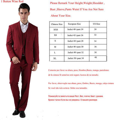 - (Jackets+Pants) 2016 New Men Suits Slim Custom Fit Tuxedo Brand Fashion Bridegroon Business Dress Wedding Suits Blazer  H0285 - 1 Button Wine Red / XS  jetcube