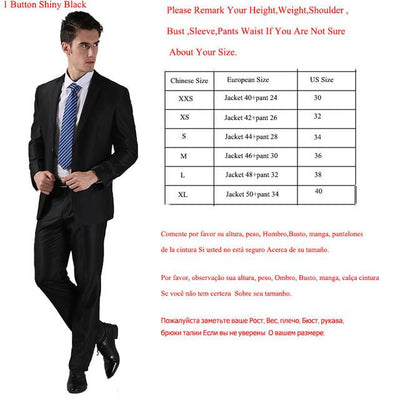 - (Jackets+Pants) 2016 New Men Suits Slim Custom Fit Tuxedo Brand Fashion Bridegroon Business Dress Wedding Suits Blazer  H0285 - 1 Button Shiny Black / XS  jetcube