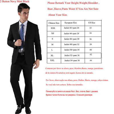 - (Jackets+Pants) 2016 New Men Suits Slim Custom Fit Tuxedo Brand Fashion Bridegroon Business Dress Wedding Suits Blazer  H0285 - 2 Button Matt Black / XS  jetcube