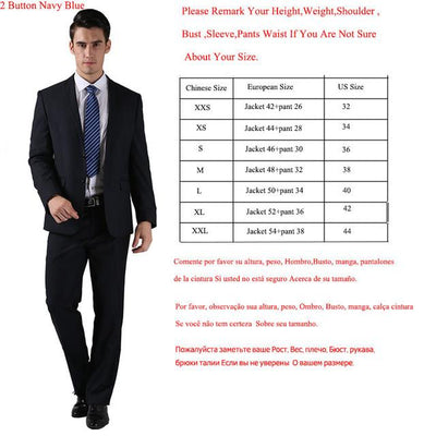 - (Jackets+Pants) 2016 New Men Suits Slim Custom Fit Tuxedo Brand Fashion Bridegroon Business Dress Wedding Suits Blazer  H0285 - 2 Button Navy Blue / XS  jetcube