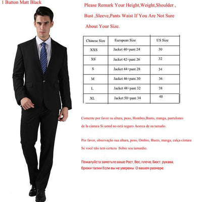- (Jackets+Pants) 2016 New Men Suits Slim Custom Fit Tuxedo Brand Fashion Bridegroon Business Dress Wedding Suits Blazer  H0285 - 1 Button Matt Black / XS  jetcube
