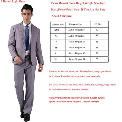 - (Jackets+Pants) 2016 New Men Suits Slim Custom Fit Tuxedo Brand Fashion Bridegroon Business Dress Wedding Suits Blazer  H0285 - 1 Button Light Grey / XS  jetcube