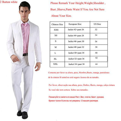 - (Jackets+Pants) 2016 New Men Suits Slim Custom Fit Tuxedo Brand Fashion Bridegroon Business Dress Wedding Suits Blazer  H0285 - 2 Button White / XS  jetcube
