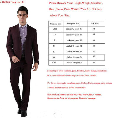 - (Jackets+Pants) 2016 New Men Suits Slim Custom Fit Tuxedo Brand Fashion Bridegroon Business Dress Wedding Suits Blazer  H0285 - 2 Button Dark Purple / XS  jetcube
