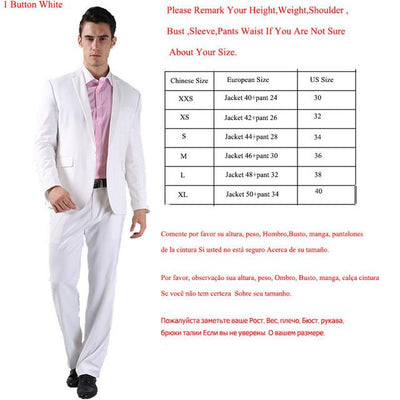 - (Jackets+Pants) 2016 New Men Suits Slim Custom Fit Tuxedo Brand Fashion Bridegroon Business Dress Wedding Suits Blazer  H0285 - 1 Button White / XS  jetcube