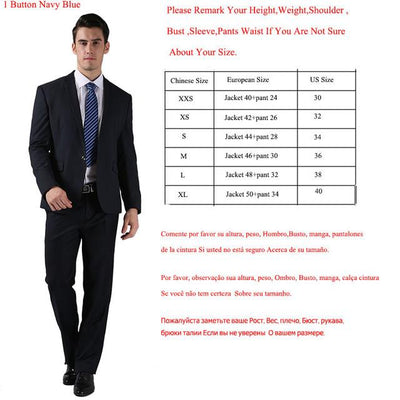 - (Jackets+Pants) 2016 New Men Suits Slim Custom Fit Tuxedo Brand Fashion Bridegroon Business Dress Wedding Suits Blazer  H0285 - 1 Button Nay Blue / XS  jetcube