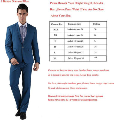 - (Jackets+Pants) 2016 New Men Suits Slim Custom Fit Tuxedo Brand Fashion Bridegroon Business Dress Wedding Suits Blazer  H0285 - 1Button Diamond Blue / XS  jetcube