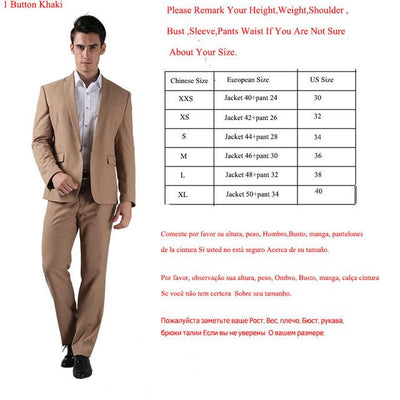- (Jackets+Pants) 2016 New Men Suits Slim Custom Fit Tuxedo Brand Fashion Bridegroon Business Dress Wedding Suits Blazer  H0285 - 1 Button Khaki / XS  jetcube