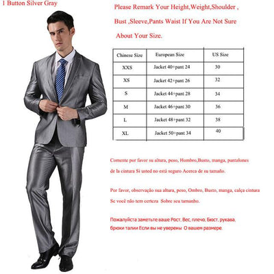- (Jackets+Pants) 2016 New Men Suits Slim Custom Fit Tuxedo Brand Fashion Bridegroon Business Dress Wedding Suits Blazer  H0285 - 1 Button Silver Grey / XS  jetcube