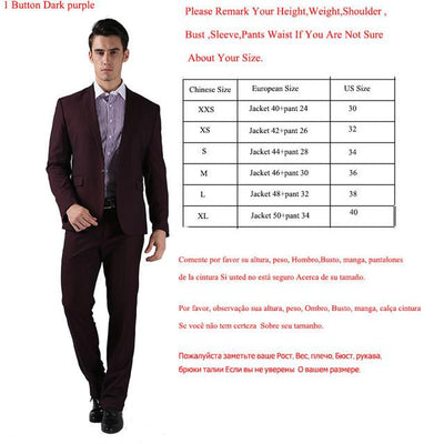 - (Jackets+Pants) 2016 New Men Suits Slim Custom Fit Tuxedo Brand Fashion Bridegroon Business Dress Wedding Suits Blazer  H0285 - 1 Button Dark Purple / XS  jetcube