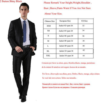 - (Jackets+Pants) 2016 New Men Suits Slim Custom Fit Tuxedo Brand Fashion Bridegroon Business Dress Wedding Suits Blazer  H0285 - 2 Button Shiny Black / XS  jetcube