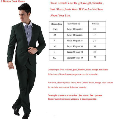 - (Jackets+Pants) 2016 New Men Suits Slim Custom Fit Tuxedo Brand Fashion Bridegroon Business Dress Wedding Suits Blazer  H0285 - 1 Button Dark Green / XS  jetcube