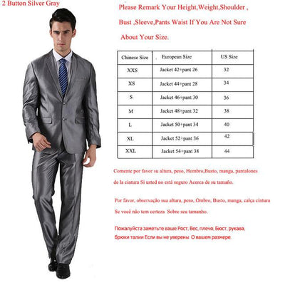 - (Jackets+Pants) 2016 New Men Suits Slim Custom Fit Tuxedo Brand Fashion Bridegroon Business Dress Wedding Suits Blazer  H0285 - 2 Button Silver Grey / XS  jetcube