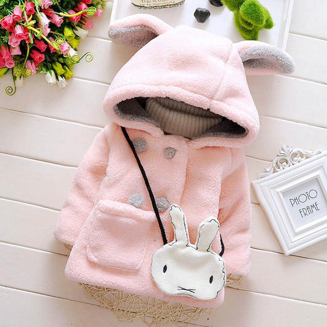 2017 autumn winter baby girl coat cotton baby girl warm coat cartoon ears thick girls jacket newborn outerwear GC160 Baby coats