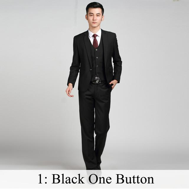 - (Jacket+Pants+Tie) Men Business Dress Suit Slim Custom Tuxedo Formal Blazer Fashion Brand Male Wedding Suits For Men 18 Styles - Black 1 Button / XS  jetcube