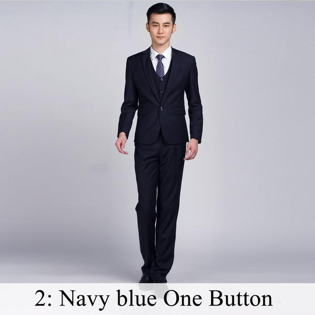 - (Jacket+Pants+Tie) Men Business Dress Suit Slim Custom Tuxedo Formal Blazer Fashion Brand Male Wedding Suits For Men 18 Styles - Navy 1 Button / XS  jetcube