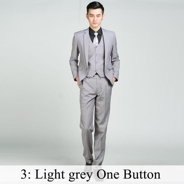 - (Jacket+Pants+Tie) Men Business Dress Suit Slim Custom Tuxedo Formal Blazer Fashion Brand Male Wedding Suits For Men 18 Styles - Light Grey 1 Button / XS  jetcube