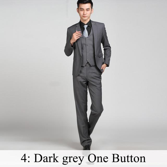 - (Jacket+Pants+Tie) Men Business Dress Suit Slim Custom Tuxedo Formal Blazer Fashion Brand Male Wedding Suits For Men 18 Styles - Dark Grey 1 Button / XS  jetcube