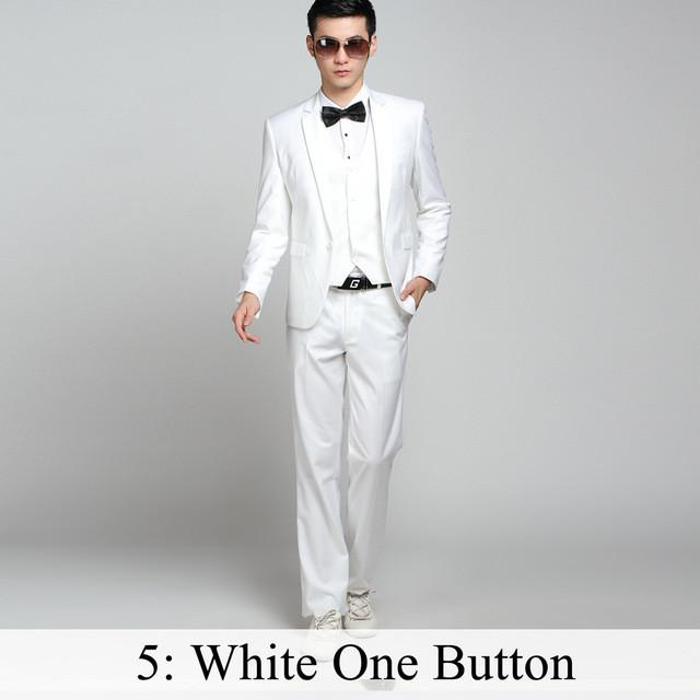 - (Jacket+Pants+Tie) Men Business Dress Suit Slim Custom Tuxedo Formal Blazer Fashion Brand Male Wedding Suits For Men 18 Styles - White 1 Button / XS  jetcube